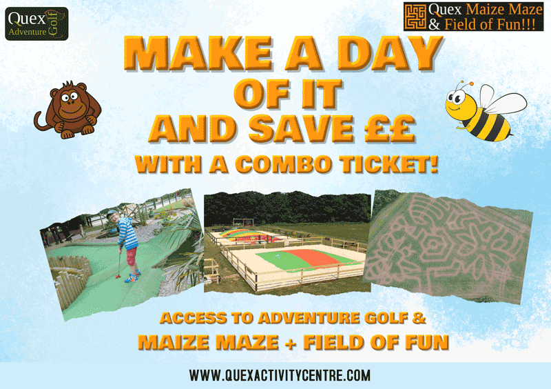 combo ticket artwork for quex adventure golf and maize maze